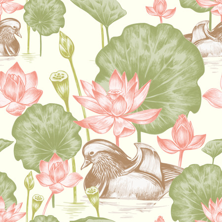 Vector seamless background. Illustration with birds and exotic flowers in the art watercolor pencils. Pond with ducks and lotus. Design for fabrics, textiles, paper, wallpaper, web. Retro. Vintage style.