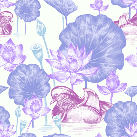 Vector seamless background. Illustration with birds and exotic flowers in the art watercolor pencils. Pond with ducks and lotus. Design for fabrics, textiles, paper, wallpaper, web. Retro. Vintage.