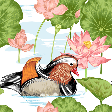 nenuphar: Vector seamless background. Illustration with birds and exotic flowers in the art watercolor pencils. Pond with ducks and lotus. Design for fabrics, textiles, paper, wallpaper, web. Retro. Vintage.