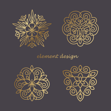 prestige: Illustration of elements in the style of a mono line. Template for creating a unique luxury design, artwork, design exhibitions, auctions, corporate products, business cards.