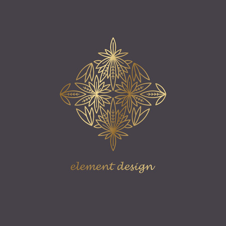 Illustration of elements in the style of a mono line. Template for creating a unique luxury design, artwork, design exhibitions, auctions, corporate products, business cards.