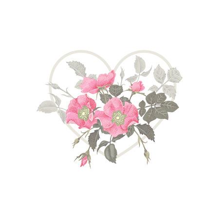 Ilustración del día de San Valentín. Corazón de San Valentín. diseño del Día de San Valentín. Plantilla de flores en un día de San Valentín en forma de corazón. El mensaje único del Día de San Valentín.