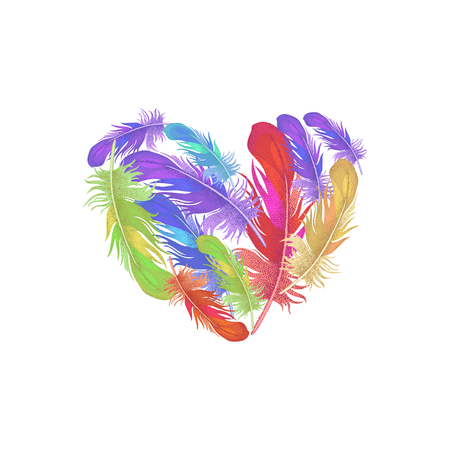 heartfelt: Illustration of St. Valentines Day. Valentine heart. design Valentines Day. Template of colored feathers in the shape of a heart for Valentines Day. Heartfelt message of Valentines Day.