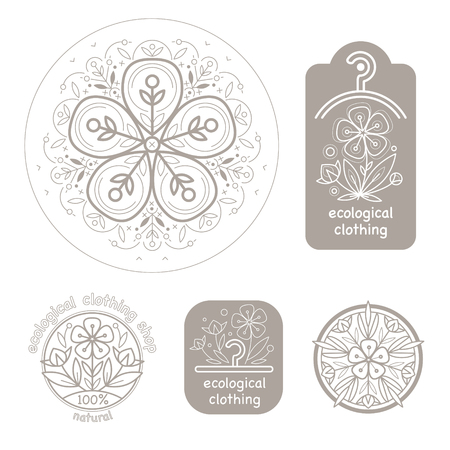 flax: Vector set template label style of organic design with image decorative flower flax. Organic vector. Modern illustration for stores of organic clothing, organic textiles, organic stuff for children.