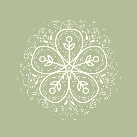 flax: Vector template style organic design image decorative flower flax. Organic vector on green background. Modern illustration for stores of organic clothing, organic textiles, organic stuff for children.