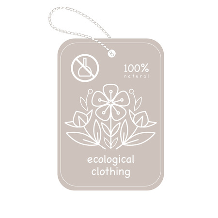 flax: Vector template label style of organic design with image decorative flower flax. Organic vector. Modern illustration for stores of organic clothing, organic textiles, organic stuff for children. Illustration