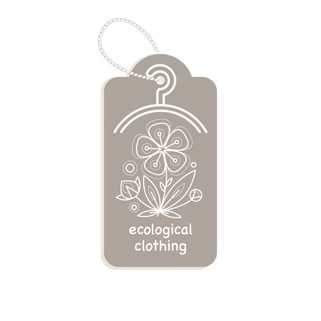 clothing label: Vector template label style of organic design with image decorative flower flax. Organic vector. Modern illustration for stores of organic clothing, organic textiles, organic stuff for children. Illustration