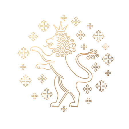 hind: Vector template symbols of royalty, lions, crowns. Modern creative illustration of lion, predatory lion, lion on hind legs. Stamping gold foil lion for luxury packaging business goods and services. Illustration