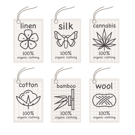 Set vector labels. Organic flax, organic silk, organic cotton, organic cannabis, organic bamboo, organic wool. Organic vector for stores organic clothing, organic textiles, organic children stuff.