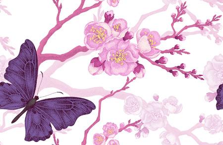 シームレス花柄背景です。花と蝶。ビクトリア朝様式の花のイラスト。ビンテージ パターンの花と蝶。さくら支店や白い背景の上の蝶。