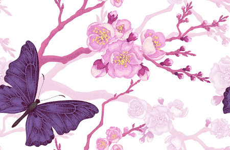 Seamless vector floral background. Flowers and butterflies. Illustration of flowers in the Victorian style. Vintage pattern flowers and butterflies. Sakura Branch and butterflies on white background.