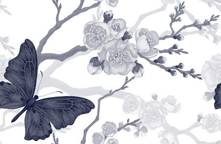Seamless vector floral pattern. Illustration sakura branch Victorian style. Vintage luxury decoration sakura branch. Series flower design in unique technique. Sakura and butterfly on white background. Illustration