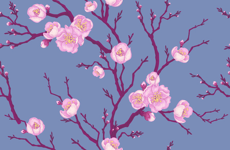 sakura tree: Seamless vector floral pattern. Illustration sakura branch in Victorian style. Vintage luxury decoration of sakura branch. Series flower design in unique technique. Sakura branch on gray background. Illustration