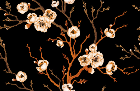 oriental vector: Sakura branch on a black background. Vector seamless pattern. Floral design in oriental style. Vintage. Black white and gold. Beautiful flowers of Oriental cherry tree gold foil printing.