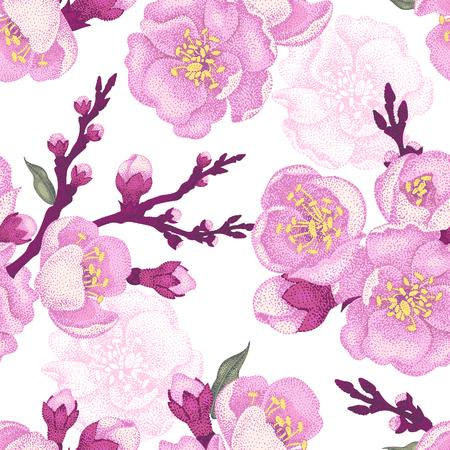 flor de sakura: Patrón floral vector transparente. sakura rama Ilustración de estilo victoriano. decoración de lujo de la vendimia de la ramificación de sakura. Diseño de la flor de la serie en la técnica única. la ramificación de sakura en el fondo blanco.