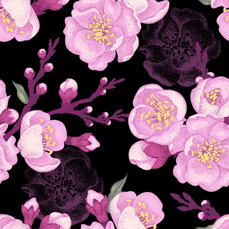 Seamless vector floral pattern. Illustration sakura branch in Victorian style. Vintage luxury decoration of sakura branch. Series flower design in unique technique. Sakura branch on black background.