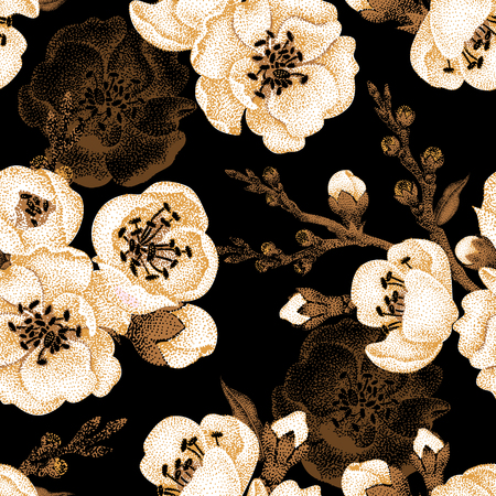 spring tree: Sakura branch on a black background. Vector seamless pattern. Floral design in oriental style. Vintage. Black white and gold. Beautiful flowers of Oriental cherry tree gold foil printing.