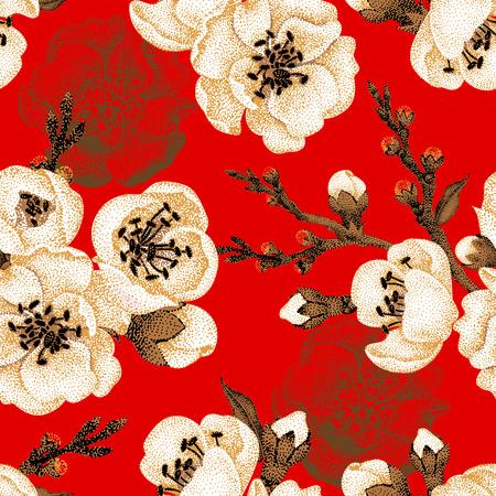 빨간색 배경에 사쿠라 분기입니다. 벡터 원활한 패턴입니다. 꽃 디자인 동양 스타일. 포도 수확. 블랙 화이트, 레드. 동양 벚꽃 금박 인쇄의 아름 다운  일러스트