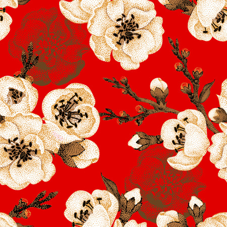 victorian: Sakura branch on red background. Vector seamless pattern. Floral design oriental style. Vintage. Black white red. Beautiful flowers of Oriental cherry tree gold foil printing.