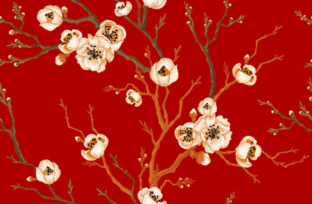stile: ramo di Sakura su sfondo rosso. Vector seamless. Disegno floreale stile orientale. Annata. Nero Rosso Bianco. Bellissimi fiori di Oriental ciliegio stampa lamina d'oro.