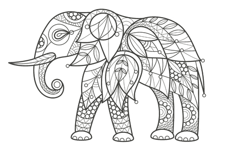 Vector illustration decorative elephant on white background. Fashion trend of adult coloration. Elephant vector with elements oriental motif. Black and white African elephant. Modern vector design. Vector Illustration