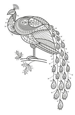 Ilustración del vector del pavo real decorativo aves en el fondo blanco. tendencia de la moda de la coloración adulta. pájaro del pavo real con elementos de adorno oriental. pájaro del pavo real en blanco y negro. vector de diseño moderno.