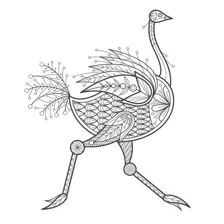 coloration: Vector illustration decorative ostrich on white background. Fashion trend of adult coloration. Bird ostrich vector with elements oriental motif. Black and white bird ostrich. Modern vector design.
