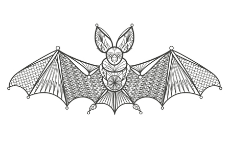 coloration: Vector illustration of a decorative bat on a white background. Fashion trend of the adult coloration. Images of the bat with oriental motifs elements. Black and white bat. Modern design of the vector. Illustration