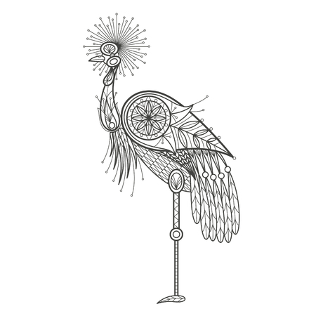 coloration: Vector illustration decorative bird crane on white background. Fashion trend of adult coloration. Bird crane with elements oriental motif. Black and white bird crane. Modern vector design. Illustration