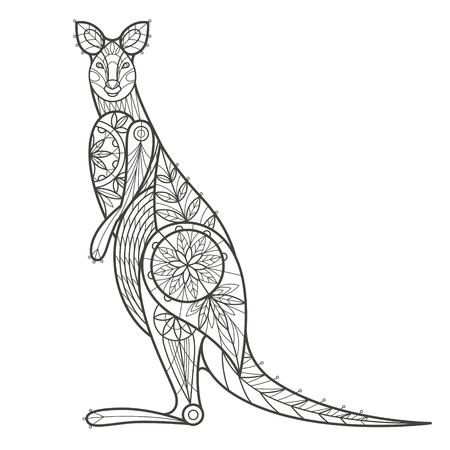 coloration: Vector illustration decorative kangaroo on white background. Fashion trend of adult coloration. Kangaroo vector with elements oriental motif. Black and white Australian kangaroo. Modern vector design. Illustration