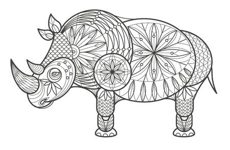 coloration: Vector illustration decorative rhinoceros on white background. Fashion trend of adult coloration. Rhinoceros vector with elements oriental motif. Black and white rhinoceros. Modern vector design. Illustration