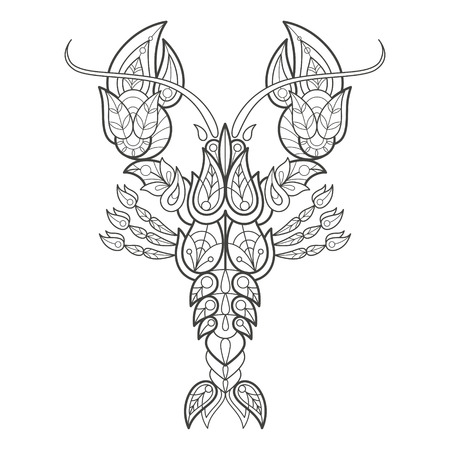 coloration: Vector illustration decorative sea cancer on white background. Fashion trend of adult coloration. Lobster vector with elements oriental motif Turkish cucumber. Black and white. Modern vector design. Illustration