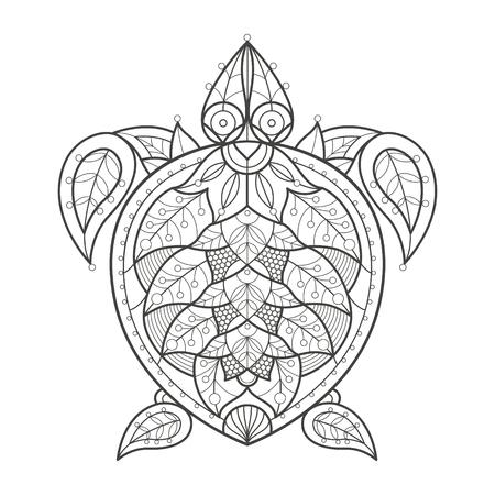 tortuga caricatura: ilustraci�n vectorial decoraci�n de tortuga en el fondo blanco. tendencia de la moda de la coloraci�n adulta. vector de tortuga marina con elementos de adorno oriental pepino turca. En blanco y negro. vector de dise�o moderno. Vectores