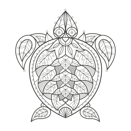 Vector illustration decorative turtle on white background. Fashion trend of adult coloration. Sea turtle vector with elements oriental motif Turkish cucumber. Black and white. Modern vector design.