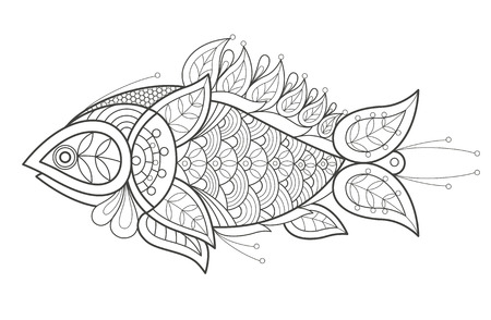 decorative fish: Vector illustration decorative fish on white background. Fashion trend of adult coloration. Sea fish vector with elements oriental motif Turkish cucumber. Black and white. Modern vector design.
