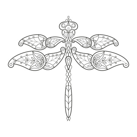 coloration: Vector illustration of decorative dragonfly on a white background. Fashion trend of the adult coloration. Insect vector with elements of oriental motif Turkish cucumber. Black and white. The modern design of the vector.