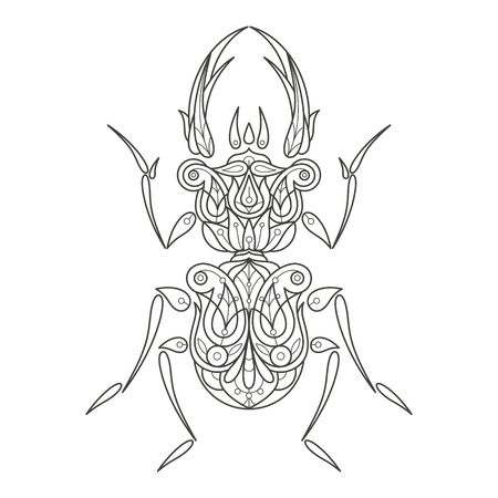 Vector illustration decorative beetle isolated on white background. Fashion trend of adult coloring. Insect vector with elements oriental motif Turkish cucumber. Black and white. Modern vector design. Vector Illustration
