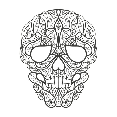 coloration: Vector illustration decorative skull on white background. Fashion trend of adult coloration. Human skull vector with elements oriental motif Turkish cucumber. Black and white. Modern vector design.