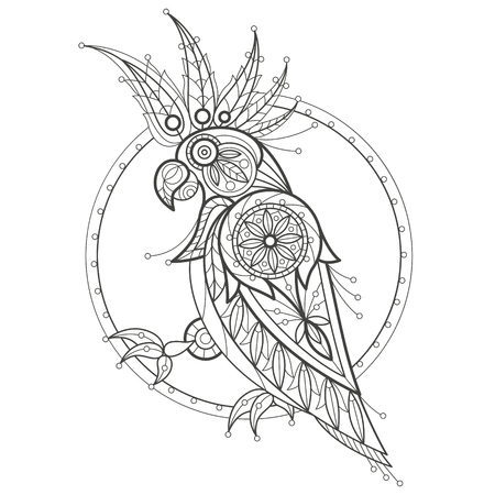 coloration: Vector illustration decorative cockatoo on white background. Fashion trend of adult coloration. Bird parrot vector with elements oriental motif Turkish cucumber. Black and white. Modern vector design.