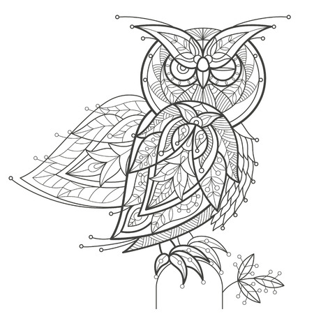 owls: Vector illustration decorative owl on white background. Fashion trend of adult coloration. Bird owl vector with elements oriental motif Turkish cucumber. Black and white. Modern vector design. Illustration