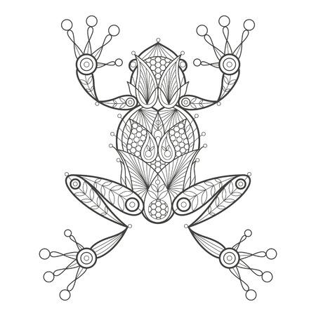 Illustrazione vettoriale rana decorativi su sfondo bianco. Fashion trend della colorazione degli adulti. Anfibio vettore rana con elementi motivo orientale cetriolo turco. Bianco e nero. disegno vettoriale moderno.