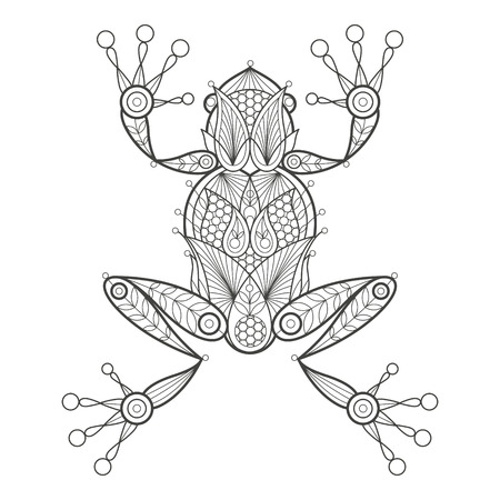 Vector illustration decorative frog on white background. Fashion trend of adult coloration. Amphibian frog vector with elements oriental motif Turkish cucumber. Black and white. Modern vector design.