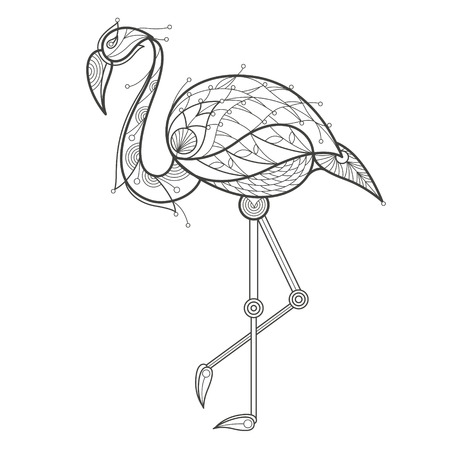 coloration: Vector illustration decorative flamingo on white background. Fashion trend adult coloration. Bird flamingo vector with elements oriental motif Turkish cucumber. Black and white. Modern vector design.