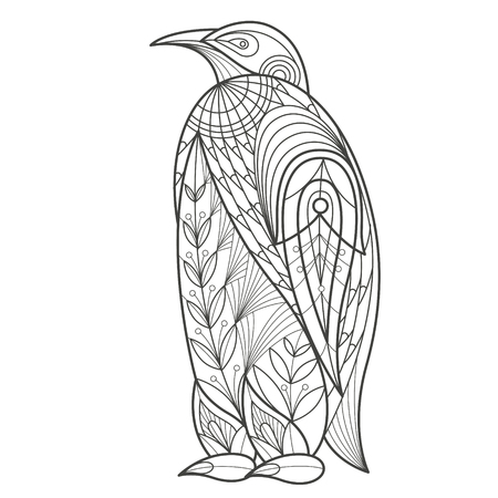 coloration: Vector illustration decorative penguin on white background. Fashion trend of adult coloration. Bird penguin vector with elements oriental motif Turkish cucumber. Black and white. Modern vector design.