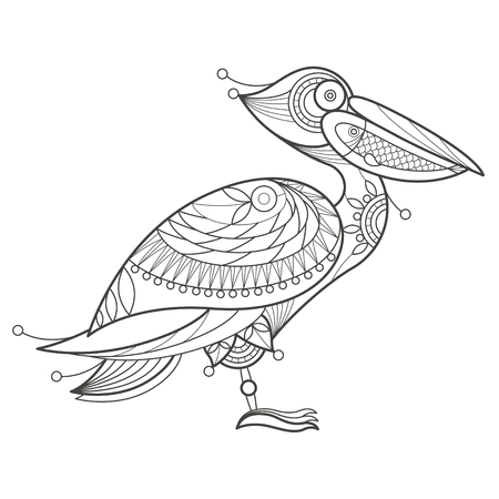 coloration: Vector illustration decorative pelican on white background. Fashion trend of adult coloration. Bird pelican vector with elements oriental motif Turkish cucumber. Black and white. Modern vector design.