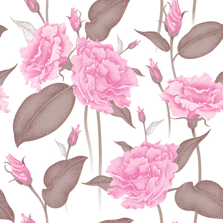 Seamless vector floral pattern. Illustration roses in Victorian style. Vintage luxury decoration of garden roses. Series flower design in a unique technique. Bouquets of roses on a white background. Reklamní fotografie - 55007610