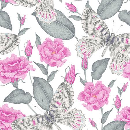 원활한 벡터 꽃 배경입니다. 꽃과 나비. 빅토리아 스타일에서 꽃의 그림입니다. 꽃과 나비의 빈티지 패턴입니다. 핑크 장미와 흰색 배경에 나비입니다.