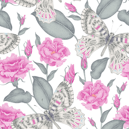 Seamless vector floral background. Flowers and butterflies. Illustration of flowers in the Victorian style. Vintage pattern of flowers and butterflies. Pink roses and butterflies on white background.