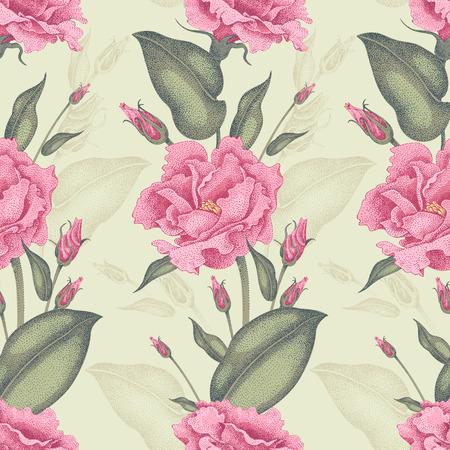 シームレス花柄。バラ図ビクトリア朝様式。庭のバラのヴィンテージで豪華な装飾。独自の技術で花のデザインのシリーズ。明るい背景にバラのブ  イラスト・ベクター素材