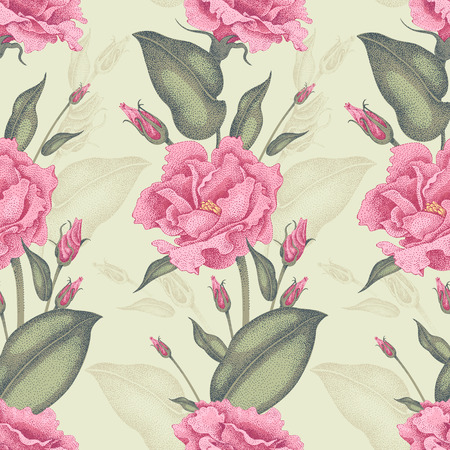 Seamless vector floral pattern. Roses Illustration Victorian style. Vintage luxury decoration of garden roses. A series of floral design in a unique technique. Bouquets of roses on a light background.